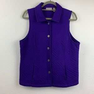 Chico's size 2 large purple quilted thin vest